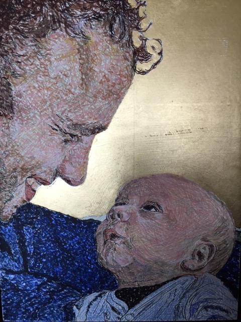 Vader en zoon 2017 - Eitempera en bladgoud op paneel - 18x24 cm
